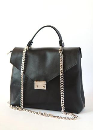 Стильная сумка портфель, натуральная кожа
