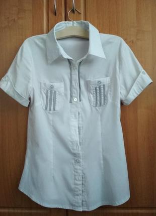 Блуза-рубашка с коротким рукавом