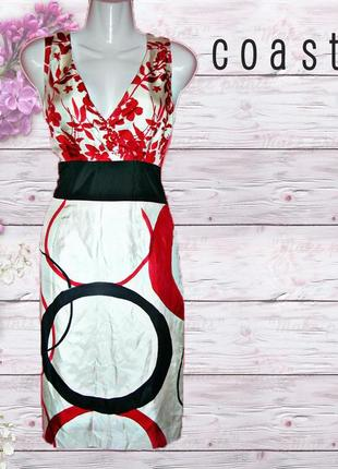 Шелковое платье миди 100% шелк с принтом от coast
