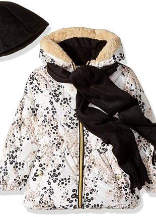 Демисезонная куртка и флисовая шапка и шарф pink platinum на девочку 4 года