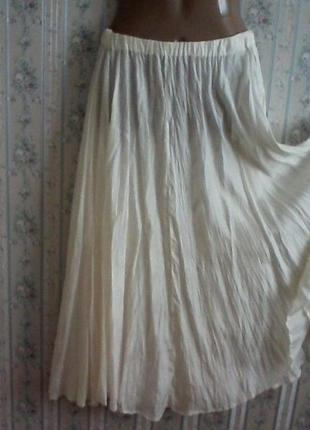 Шелковая юбка, шелк натуральный, под плиссе, длина макси, размер 46-48