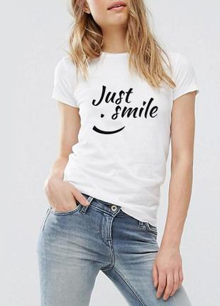 """Белая футболка """"just smile"""" 100% коттон размеры"""