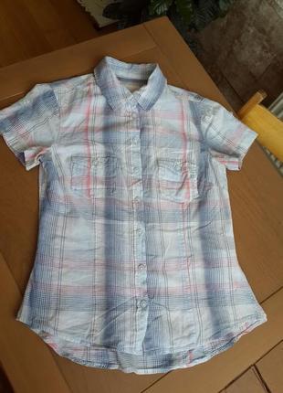 H&m рубашка с коротким рукавом в клетку