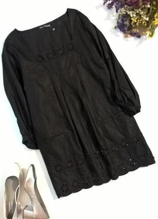 Брендовая удлиненная черная туника блуза натуральная ткань отделка ришелье 20/22  размер