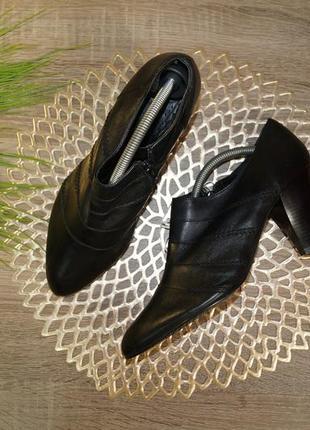 (41р./26,5см) zanos & zago! кожа! базовые классические ботильоны на устойчивом каблуке