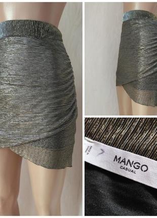 Mango casual манго юбка мини тюльпан приталенная блестящая плисированная s 36 8 m 38 10