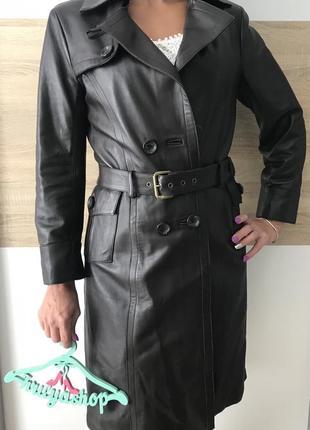 Классическое кожаное пальто франция бренд skin valley