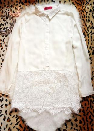 Новая белая блуза с гипюром рубашка ажур туника батал большой размер плюс сайз