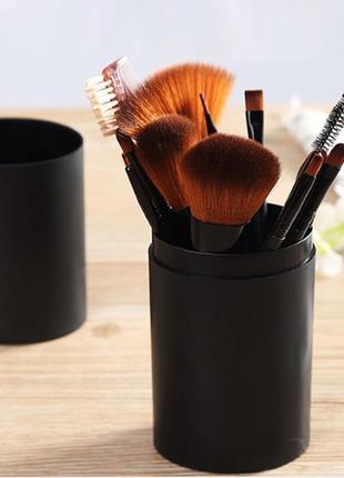 Набор кистей для макияжа 12 шт + тубус