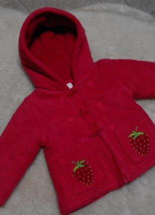 Теплое, флисовое пальтишко bluezoo на девочку 12-18 месяцев