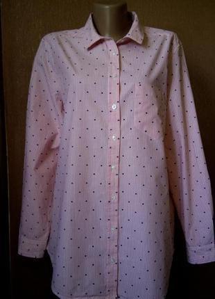 Рубашка хлопковая в полоску  с шитьём  marks&spencer