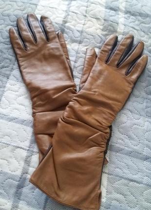 Перчатки женские длинные кожа