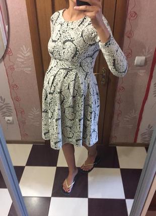 Трикотажное платье миди, можно на беременных