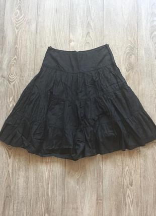 Чёрная расклешенная летняя юбка, хлопок, 34-36, penelope&monica cruz for mng