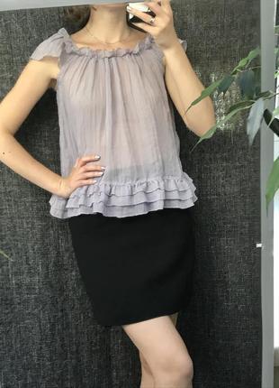 Лавандовая блуза с рюшами/ фиолетовая сиреневая летняя футболка блузка