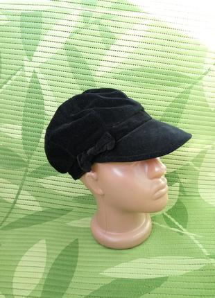 Чёрная велюровая французская шляпка /кепка xs/s