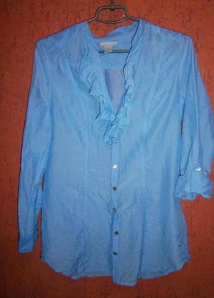 Блузка небесно-голубая шелк хлопок с вырезом