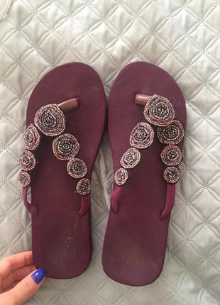 Шлепанцы фиолетовые с бисером