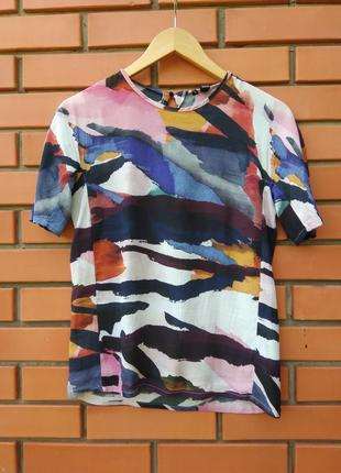 Футболка блуза из вискозы принт акварель