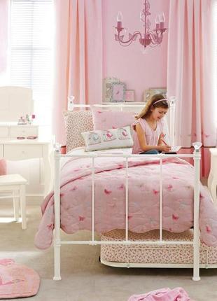 Милое нежно розовое покрывало, покрывало на полуторную кровать диван, с вышивкой цветы