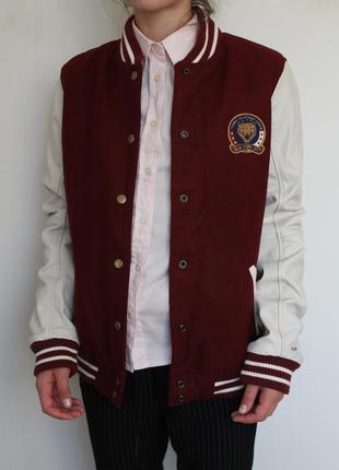 Tommy hilfiger шерстяной бомбер куртка с кожаными рукавами
