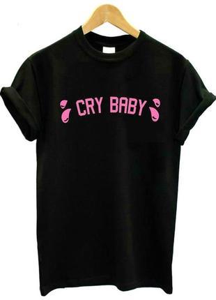 Черная футболка cry baby babe с принтом надписью хлопковая с рисунком оверсайз свободная