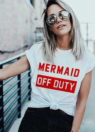 Белая футболка mermaid off duty с надписью хлопковая с рисунком оверсайз свободная