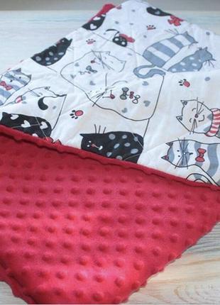 Утепленный плед в кроватку или коляску р. 95 х 75 , ручная работа