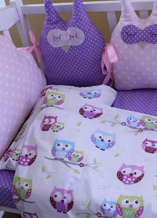Комплект в кроватку, с фигурными бортиками на 4 стороны + постель