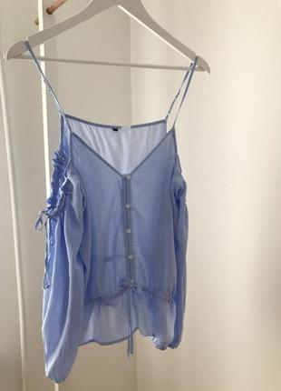 Блуза с открытыми плечами h&m 100% вискоза