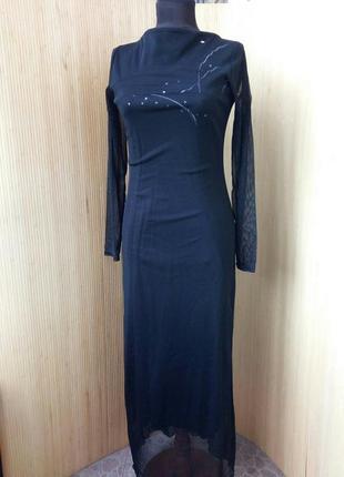 Французское длинное вечернее чёрное  платье с рукавом сеточкой s/m