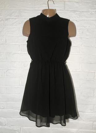 Распродажа летнего! черное милое шифоновое мини платье new look petite р. 10 лучше на xs/s
