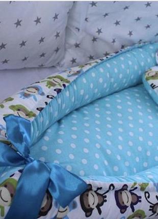 Двухсторонний бебинест или кокон для малыша  в комплекте с подушкой р. 72 х 30