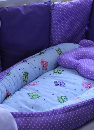 Двухсторонний бебинест или кокон для малыша в комплекте с подушкой р. 70 х 30