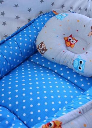 Двухсторонний бебинест или кокон для малыша в комплекте с подушкой р. 68 х 30