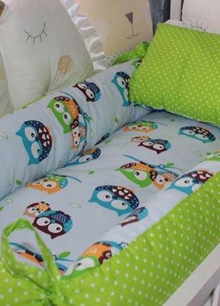 Двухсторонний прямоугольный бебинест  для малыша в комплекте с подушкой р. 80х 36