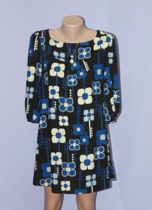 Интересное/натуральное , принтовое платье 10 размера f&f