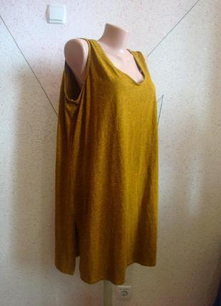 Меланжевое платье - туника с красивой спинкой разрезиками по бокам. размер 18-22