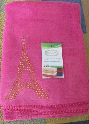 Лицевое полотенце 50х100 см, эйфелева башня, микрофибра. цвет малиновый