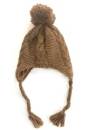 Новая вязаная коричневая шапка для малышей, zara, 1323731