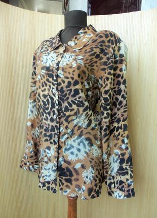 Трендовая блуза натуралтный шелк анималистический леопардовый принт1