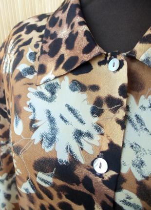 Трендовая блуза натуралтный шелк анималистический леопардовый принт4