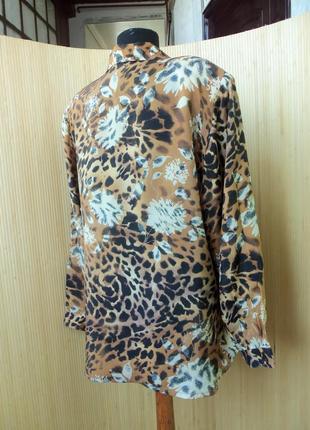 Трендовая блуза натуралтный шелк анималистический леопардовый принт3
