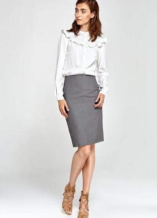 Серая классическая юбка карандаш офисная миди обтягивающая xs - s школьная в школу
