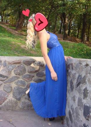 Платье макси цвета электрик