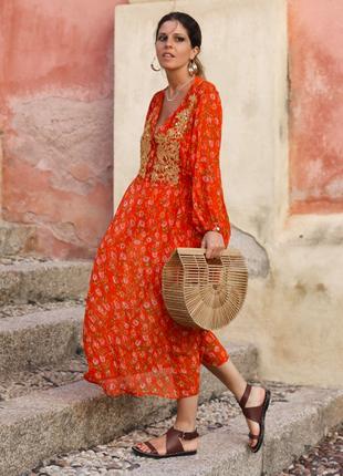Платье миди в принт от zara