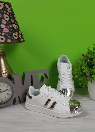 Кеды кроссовки белые с золотыми вставками распродажа 40р