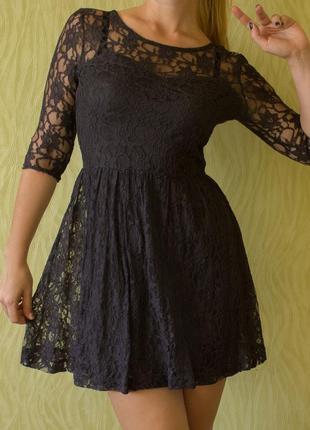 Кружевное платье шоколадного цвета ostin
