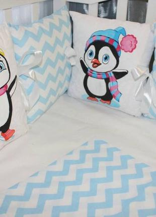 Комплект в кроватку, с бортиками на  3 стороны + постель