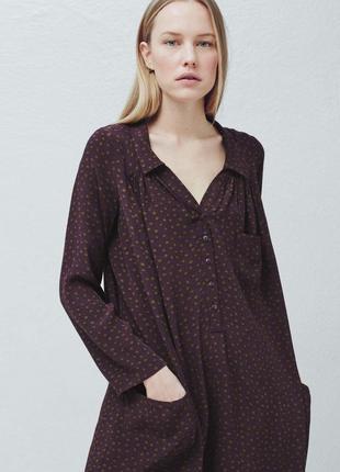 Новое платье-рубашка mango свободный фасон бордовое платье в горох